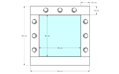 Drewniane lustro 50x50 ROF-9