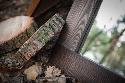 Lustro w drewnianej ramie PURE NATURE w kolorze orzech