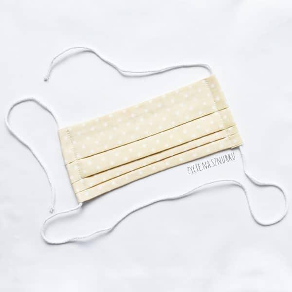 Maseczka ochronna na twarz z bawełny - wzór beżowa w białe groszki