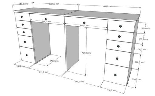 Podwójna toaletka do makijażu z szufladami DELUXE DUO 12W200 S2 wymiary